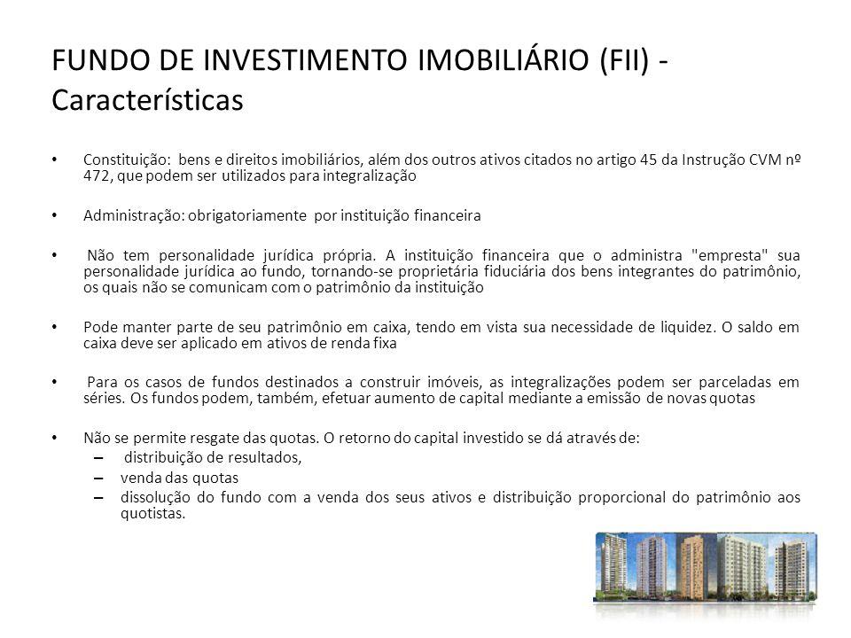 FUNDO DE INVESTIMENTO IMOBILIÁRIO (FII) - Características Constituição: bens e direitos imobiliários, além dos outros ativos citados no artigo 45 da I