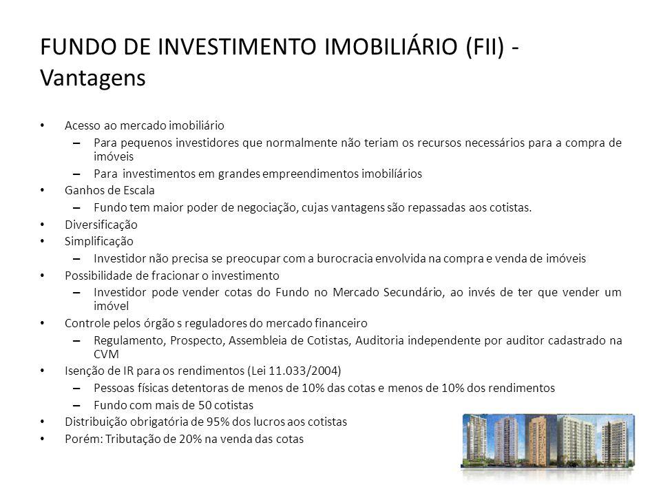 FUNDO DE INVESTIMENTO IMOBILIÁRIO (FII) - Vantagens Acesso ao mercado imobiliário – Para pequenos investidores que normalmente não teriam os recursos