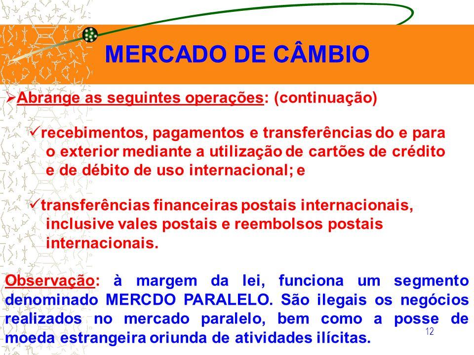 12 MERCADO DE CÂMBIO Abrange as seguintes operações: (continuação) recebimentos, pagamentos e transferências do e para o exterior mediante a utilizaçã