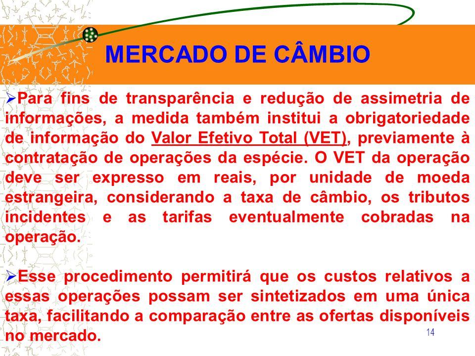 14 MERCADO DE CÂMBIO Para fins de transparência e redução de assimetria de informações, a medida também institui a obrigatoriedade de informação do Va