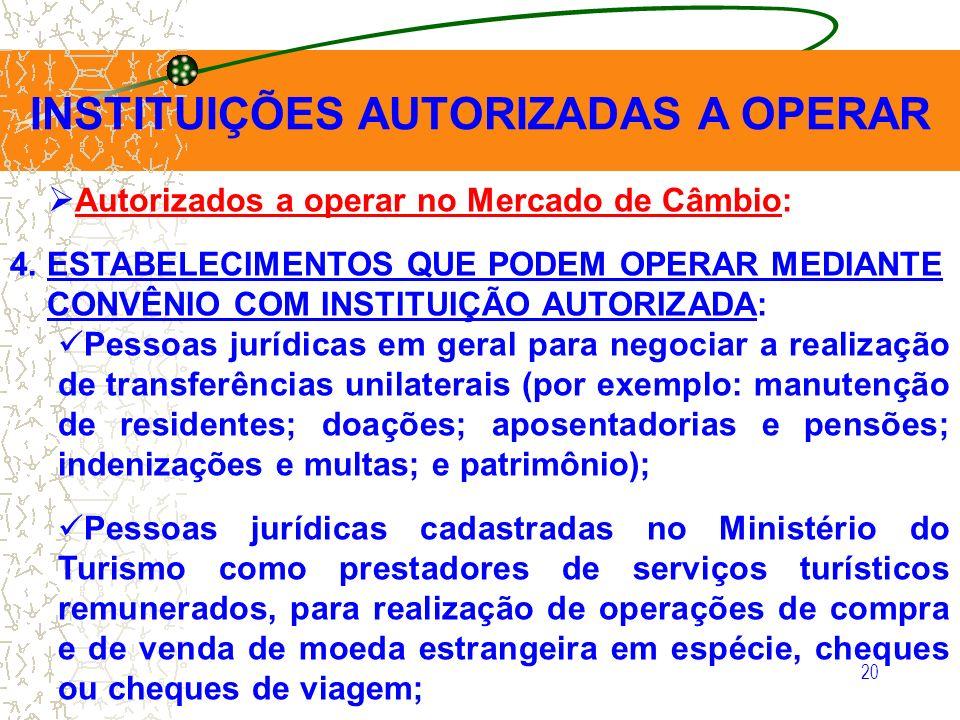 20 INSTITUIÇÕES AUTORIZADAS A OPERAR Autorizados a operar no Mercado de Câmbio: 4. ESTABELECIMENTOS QUE PODEM OPERAR MEDIANTE CONVÊNIO COM INSTITUIÇÃO