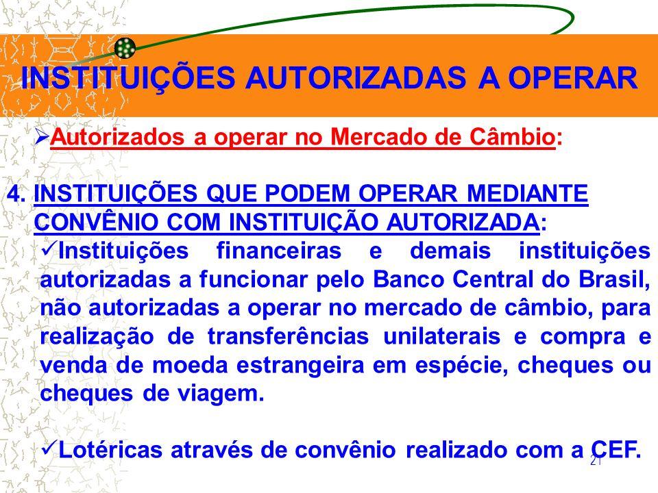 21 INSTITUIÇÕES AUTORIZADAS A OPERAR Autorizados a operar no Mercado de Câmbio: 4. INSTITUIÇÕES QUE PODEM OPERAR MEDIANTE CONVÊNIO COM INSTITUIÇÃO AUT