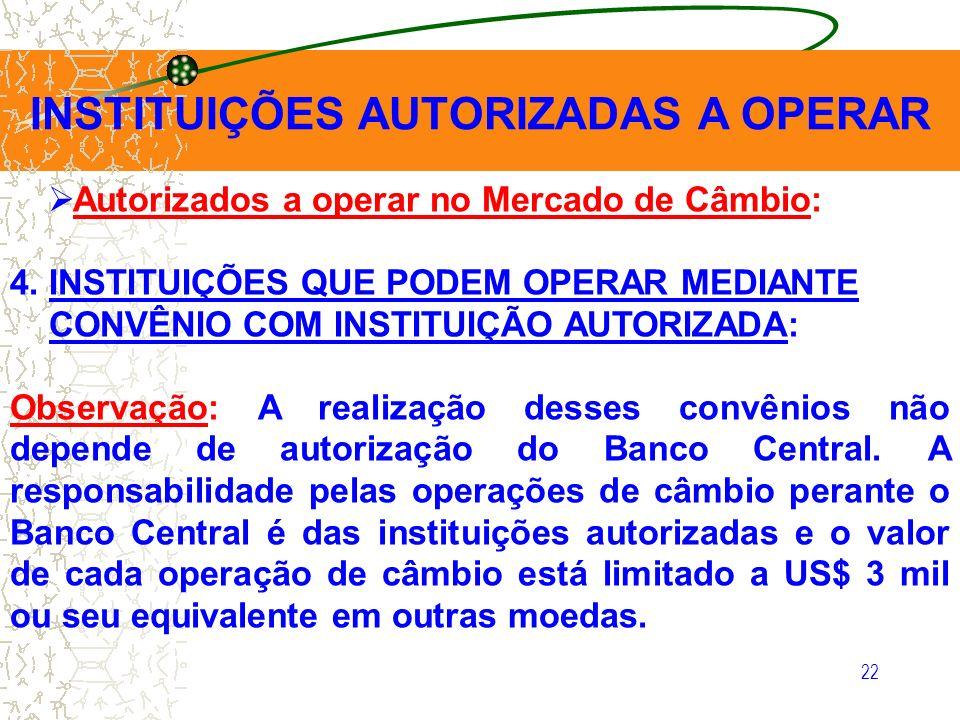 22 INSTITUIÇÕES AUTORIZADAS A OPERAR Autorizados a operar no Mercado de Câmbio: 4. INSTITUIÇÕES QUE PODEM OPERAR MEDIANTE CONVÊNIO COM INSTITUIÇÃO AUT