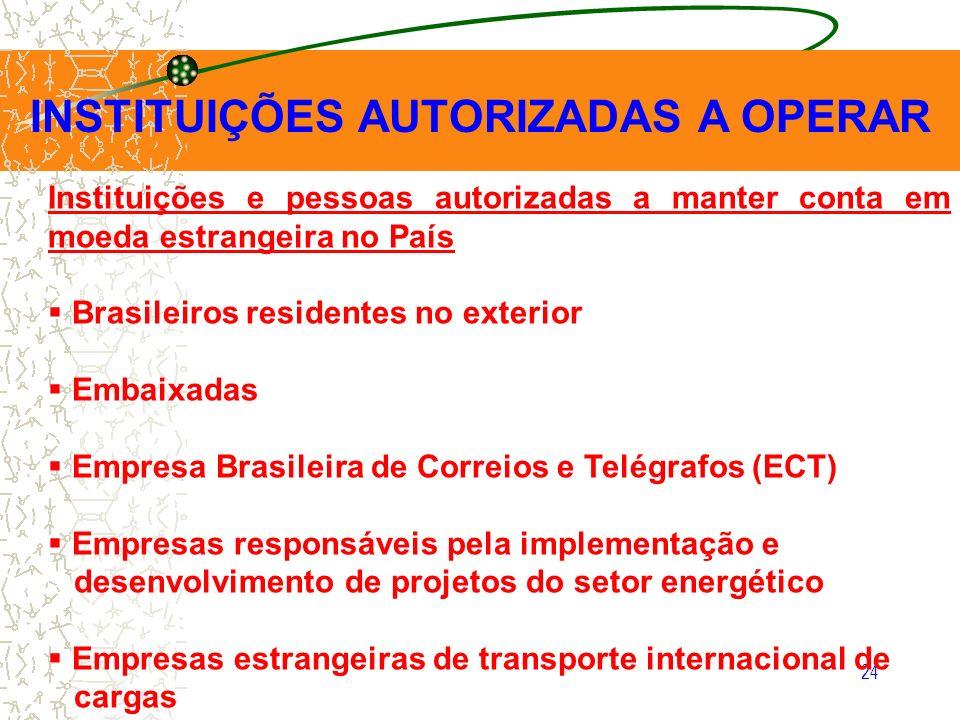 24 INSTITUIÇÕES AUTORIZADAS A OPERAR Instituições e pessoas autorizadas a manter conta em moeda estrangeira no País Brasileiros residentes no exterior