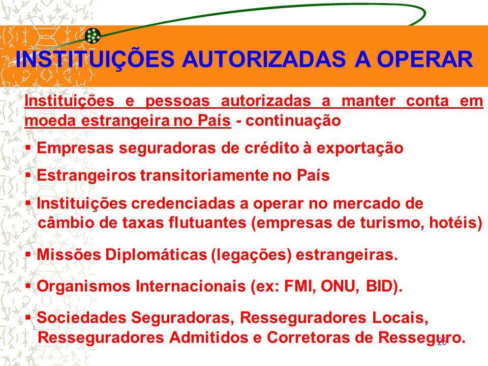 25 INSTITUIÇÕES AUTORIZADAS A OPERAR Instituições e pessoas autorizadas a manter conta em moeda estrangeira no País - continuação Empresas seguradoras