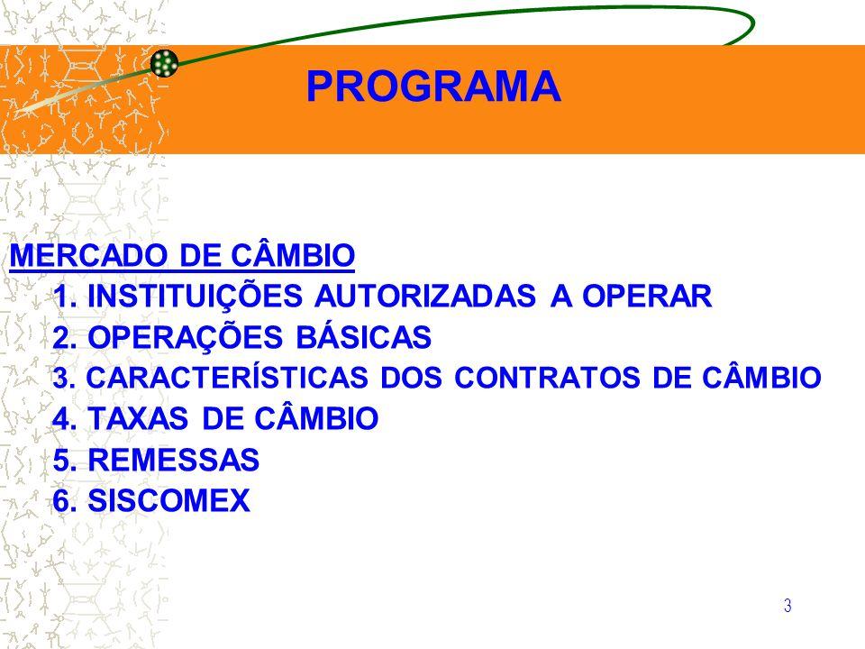 3 1. INSTITUIÇÕES AUTORIZADAS A OPERAR 2. OPERAÇÕES BÁSICAS 3. CARACTERÍSTICAS DOS CONTRATOS DE CÂMBIO 4. TAXAS DE CÂMBIO 5. REMESSAS 6. SISCOMEX PROG
