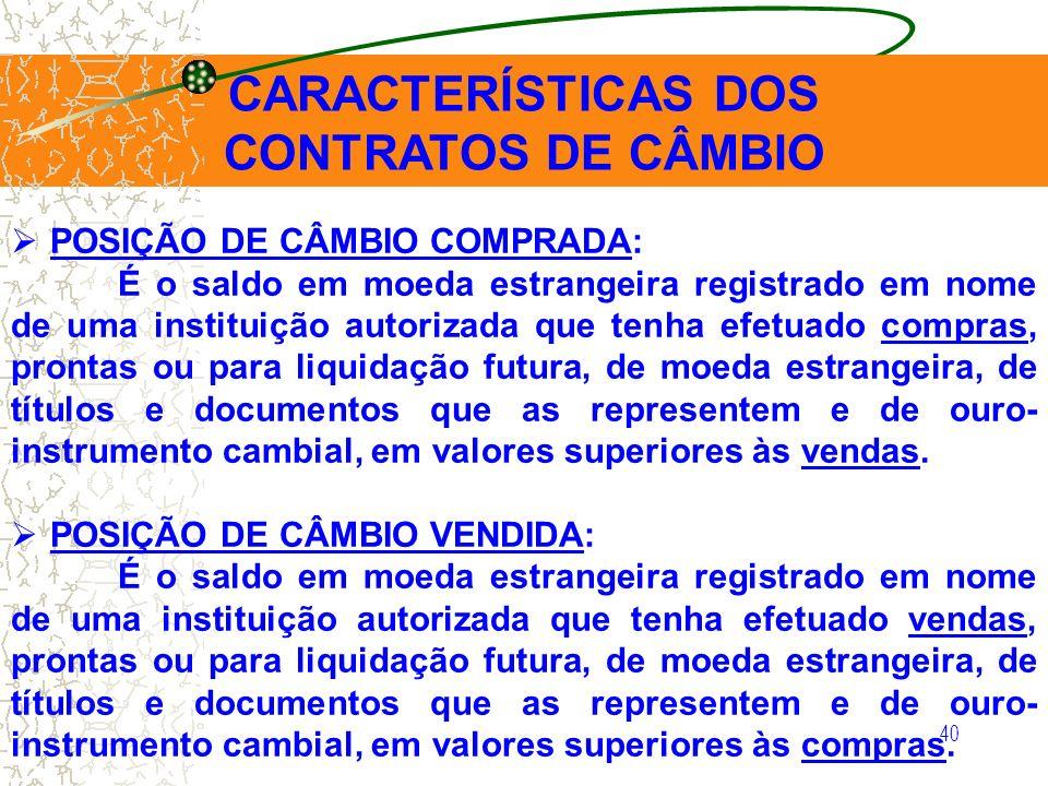 40 CARACTERÍSTICAS DOS CONTRATOS DE CÂMBIO POSIÇÃO DE CÂMBIO COMPRADA: É o saldo em moeda estrangeira registrado em nome de uma instituição autorizada