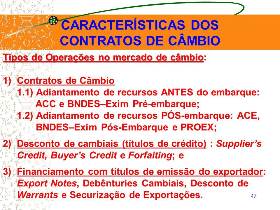 42 CARACTERÍSTICAS DOS CONTRATOS DE CÂMBIO Tipos de Operações no mercado de câmbio Tipos de Operações no mercado de câmbio: 1)Contratos de Câmbio 1.1)