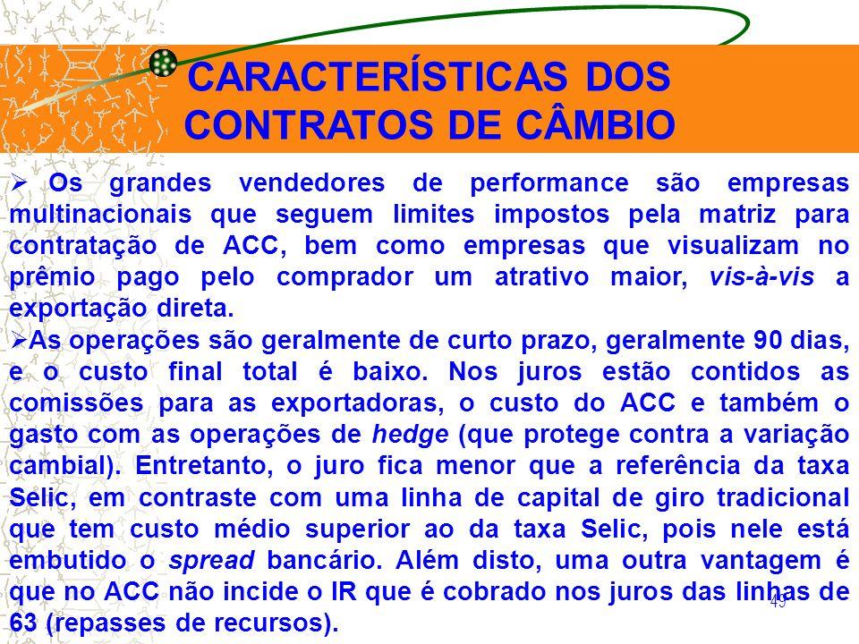 49 CARACTERÍSTICAS DOS CONTRATOS DE CÂMBIO Os grandes vendedores de performance são empresas multinacionais que seguem limites impostos pela matriz pa