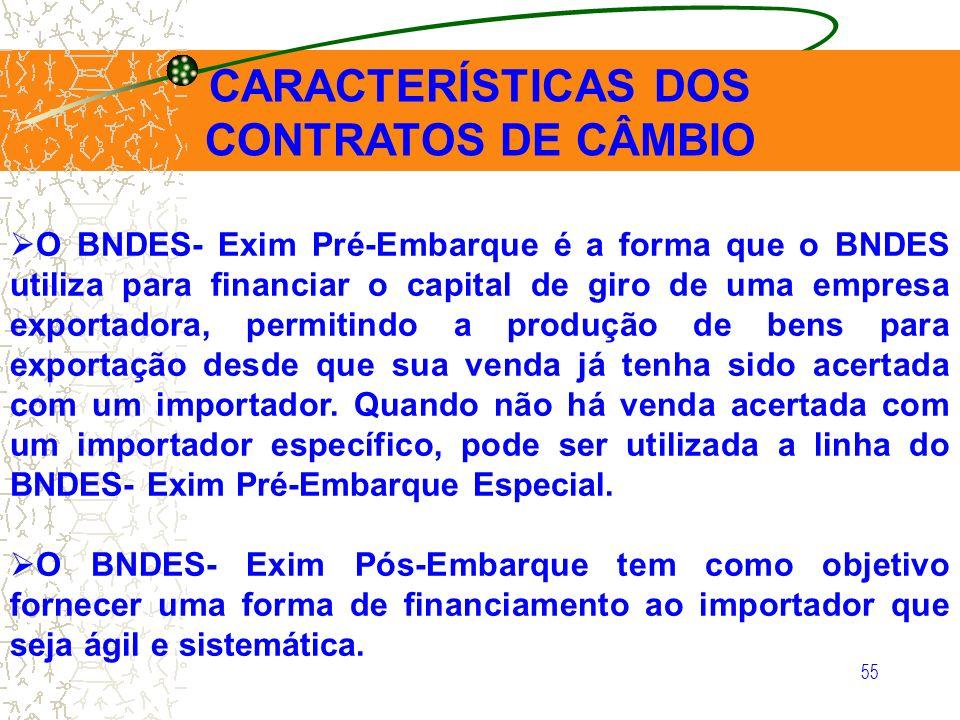 55 CARACTERÍSTICAS DOS CONTRATOS DE CÂMBIO O BNDES- Exim Pré-Embarque é a forma que o BNDES utiliza para financiar o capital de giro de uma empresa ex