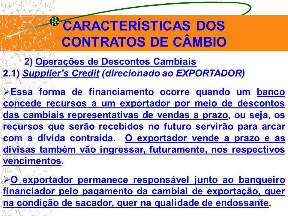 58 CARACTERÍSTICAS DOS CONTRATOS DE CÂMBIO 2) Operações de Descontos Cambiais 2.1) Suppliers Credit (direcionado ao EXPORTADOR) Essa forma de financia