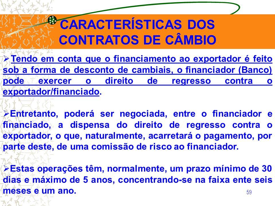 59 CARACTERÍSTICAS DOS CONTRATOS DE CÂMBIO Tendo em conta que o financiamento ao exportador é feito sob a forma de desconto de cambiais, o financiador