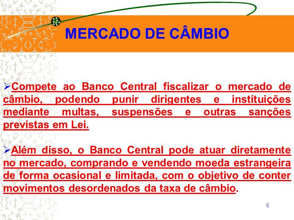 6 MERCADO DE CÂMBIO Compete ao Banco Central fiscalizar o mercado de câmbio, podendo punir dirigentes e instituições mediante multas, suspensões e out