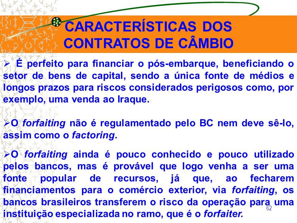 62 CARACTERÍSTICAS DOS CONTRATOS DE CÂMBIO É perfeito para financiar o pós-embarque, beneficiando o setor de bens de capital, sendo a única fonte de m