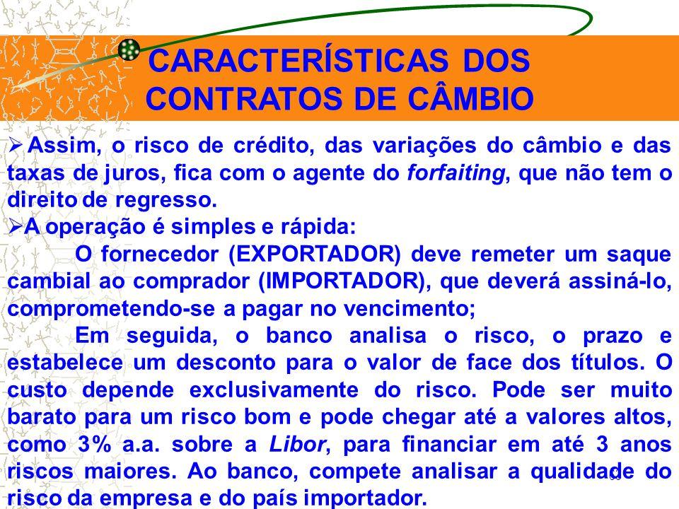63 CARACTERÍSTICAS DOS CONTRATOS DE CÂMBIO Assim, o risco de crédito, das variações do câmbio e das taxas de juros, fica com o agente do forfaiting, q