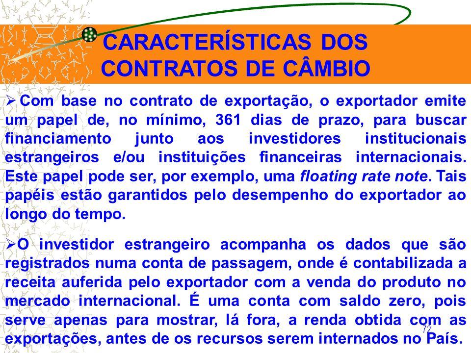 72 CARACTERÍSTICAS DOS CONTRATOS DE CÂMBIO Com base no contrato de exportação, o exportador emite um papel de, no mínimo, 361 dias de prazo, para busc