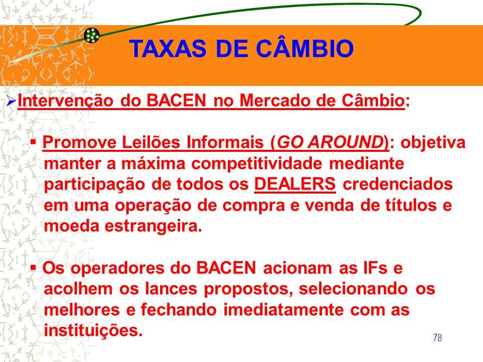 78 TAXAS DE CÂMBIO Intervenção do BACEN no Mercado de Câmbio: Promove Leilões Informais (GO AROUND): objetiva manter a máxima competitividade mediante