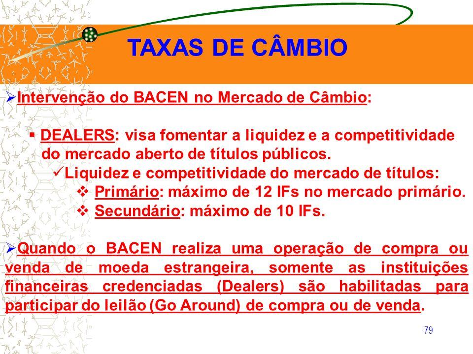 79 TAXAS DE CÂMBIO Intervenção do BACEN no Mercado de Câmbio: DEALERS: visa fomentar a liquidez e a competitividade do mercado aberto de títulos públi