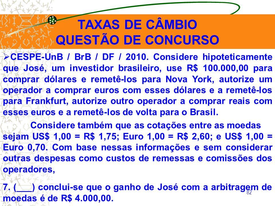 82 CESPE-UnB / BrB / DF / 2010. Considere hipoteticamente que José, um investidor brasileiro, use R$ 100.000,00 para comprar dólares e remetê-los para