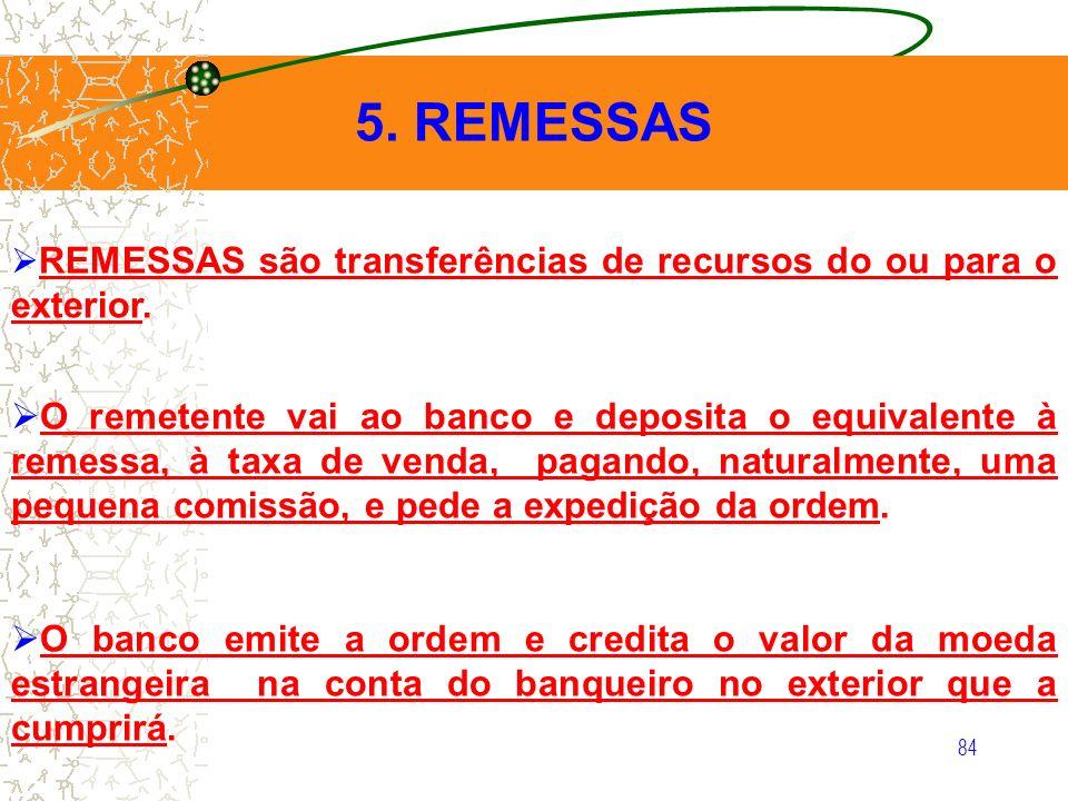 84 5. REMESSAS REMESSAS são transferências de recursos do ou para o exterior. O remetente vai ao banco e deposita o equivalente à remessa, à taxa de v