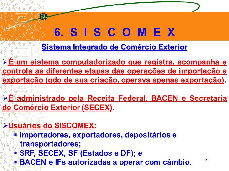 86 Sistema Integrado de Comércio Exterior É um sistema computadorizado que registra, acompanha e controla as diferentes etapas das operações de import