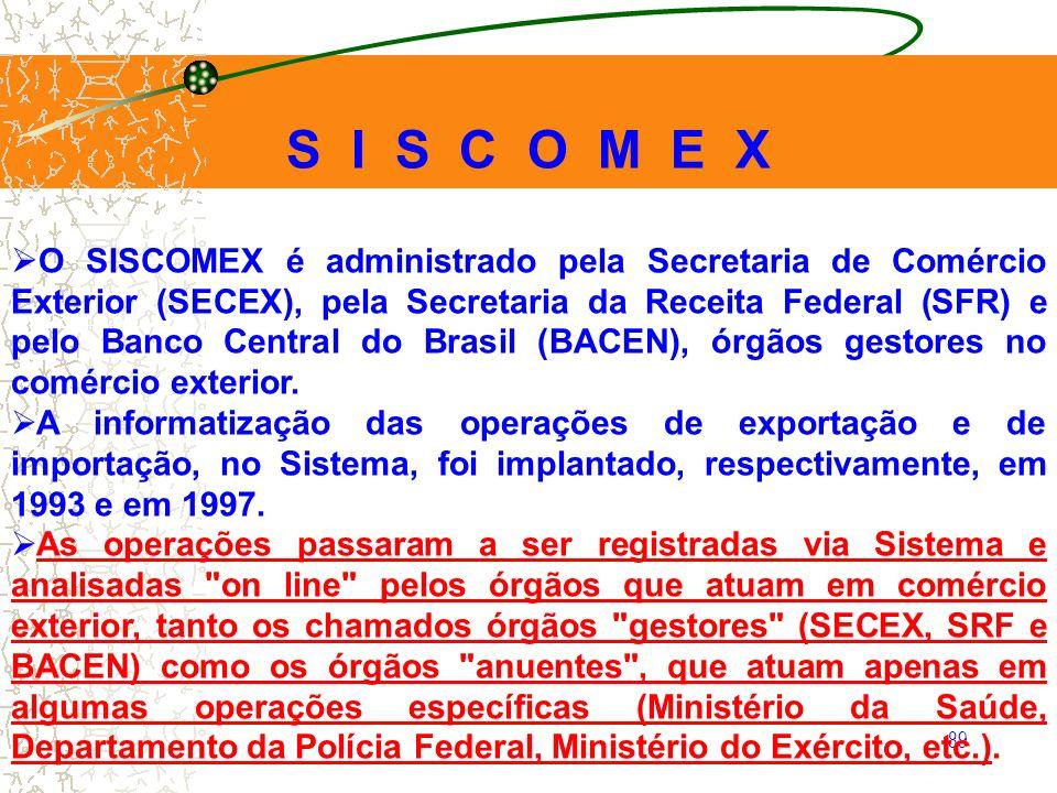 89 O SISCOMEX é administrado pela Secretaria de Comércio Exterior (SECEX), pela Secretaria da Receita Federal (SFR) e pelo Banco Central do Brasil (BA