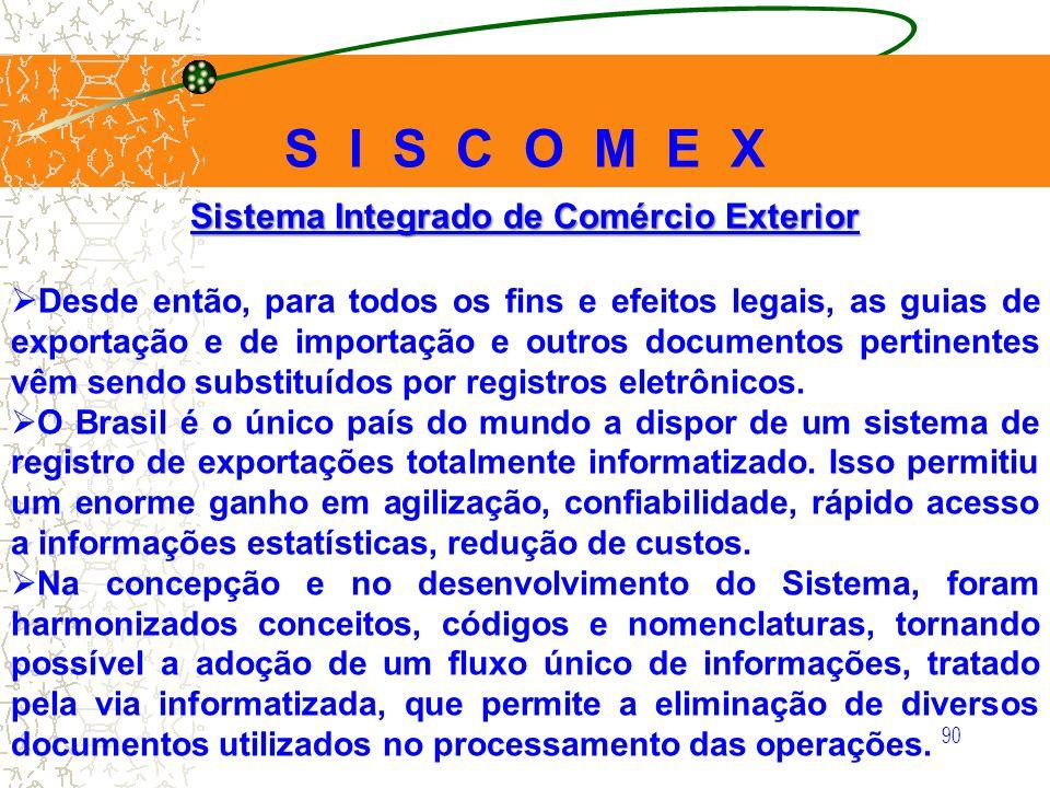 90 Sistema Integrado de Comércio Exterior Desde então, para todos os fins e efeitos legais, as guias de exportação e de importação e outros documentos