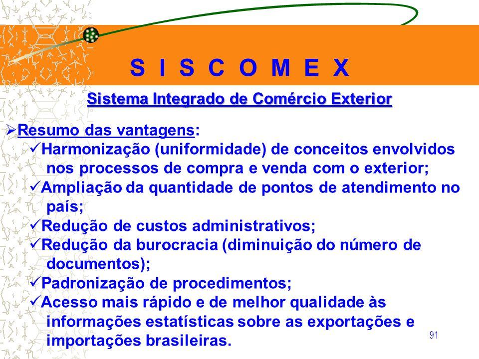 91 Sistema Integrado de Comércio Exterior Resumo das vantagens: Harmonização (uniformidade) de conceitos envolvidos nos processos de compra e venda co