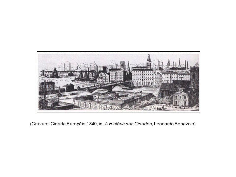 (Gravura: Cidade Européia,1840, in. A História das Cidades, Leonardo Benevolo)