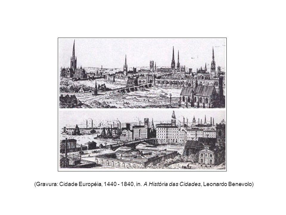 (Gravura: Cidade Européia, 1440 - 1840, in. A História das Cidades, Leonardo Benevolo)