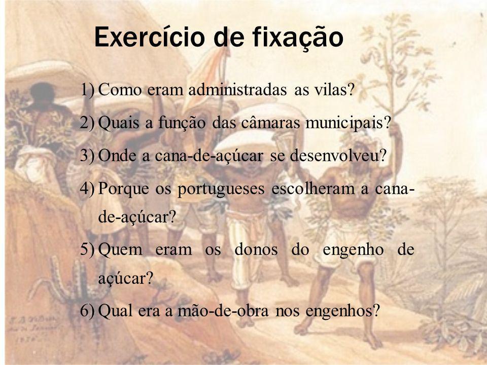 Exercício de fixação 1)Como eram administradas as vilas.