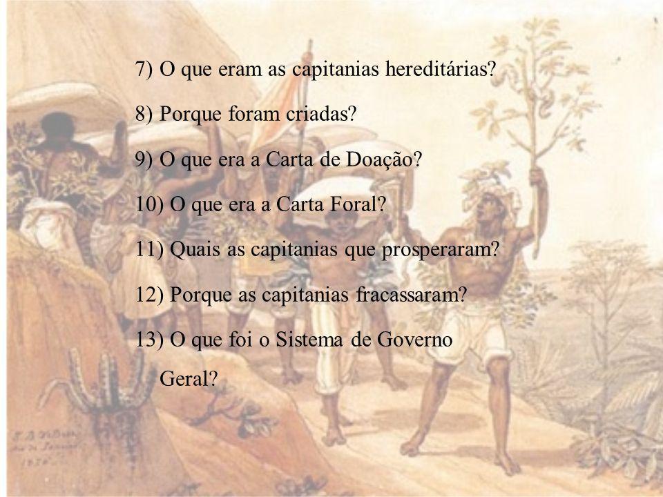 7)O que eram as capitanias hereditárias.8)Porque foram criadas.