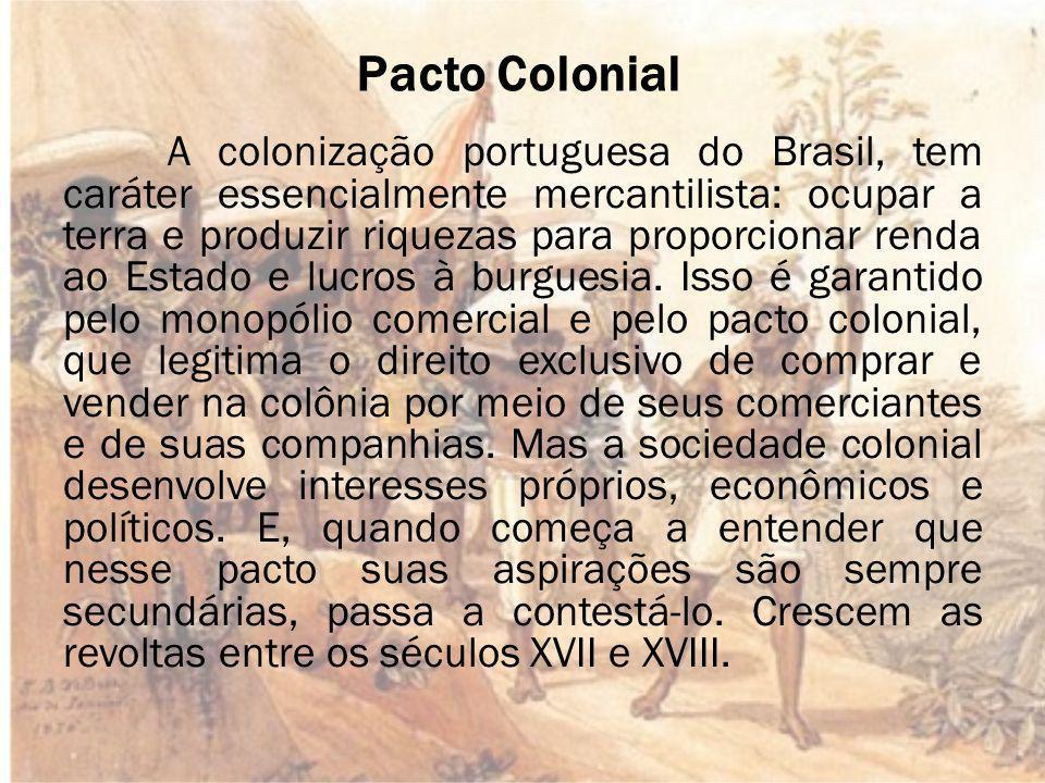 Pacto Colonial A colonização portuguesa do Brasil, tem caráter essencialmente mercantilista: ocupar a terra e produzir riquezas para proporcionar renda ao Estado e lucros à burguesia.
