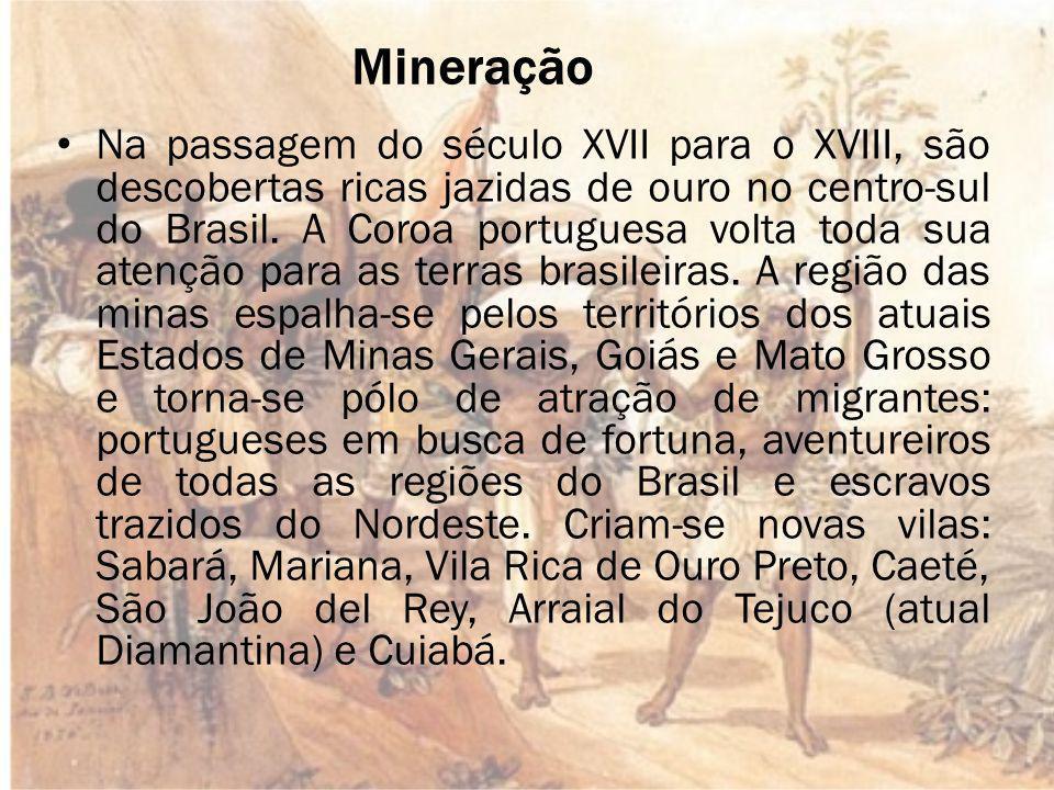 Mineração Na passagem do século XVII para o XVIII, são descobertas ricas jazidas de ouro no centro-sul do Brasil.