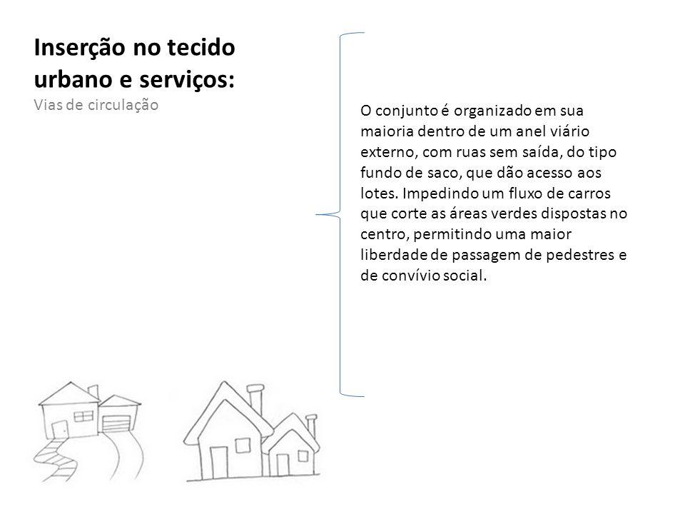 Inserção no tecido urbano e serviços: Vias de circulação O conjunto é organizado em sua maioria dentro de um anel viário externo, com ruas sem saída,