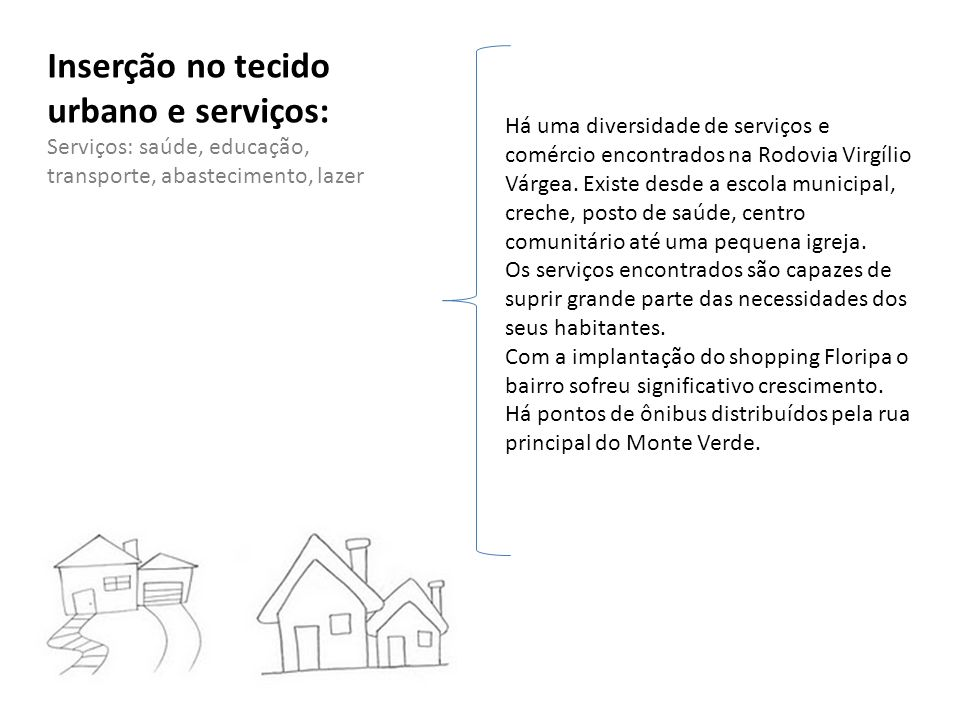 Inserção no tecido urbano e serviços: Serviços: saúde, educação, transporte, abastecimento, lazer Há uma diversidade de serviços e comércio encontrado