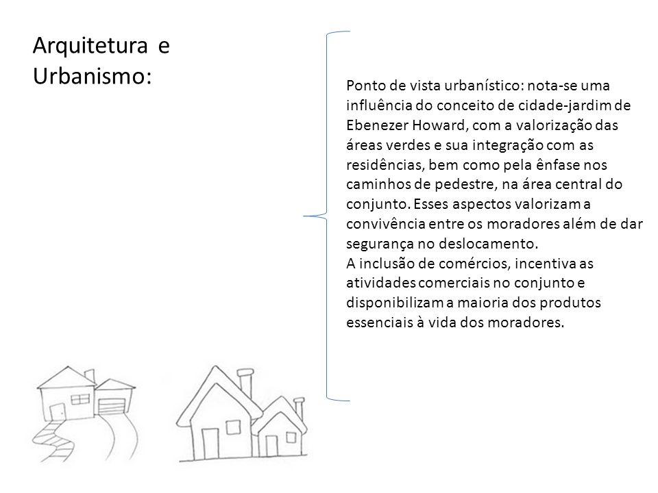 Arquitetura e Urbanismo: Ponto de vista urbanístico: nota-se uma influência do conceito de cidade-jardim de Ebenezer Howard, com a valorização das áre
