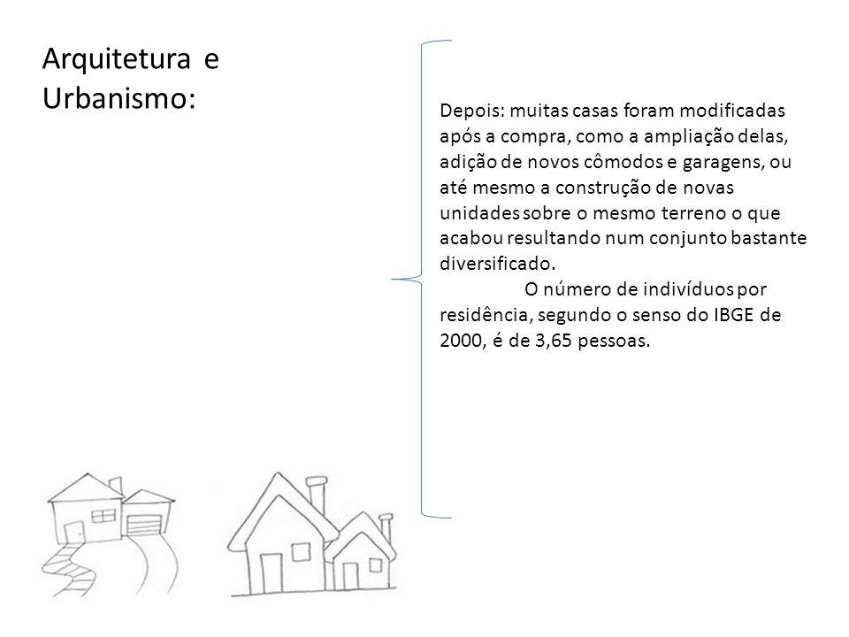 Arquitetura e Urbanismo: Depois: muitas casas foram modificadas após a compra, como a ampliação delas, adição de novos cômodos e garagens, ou até mesm