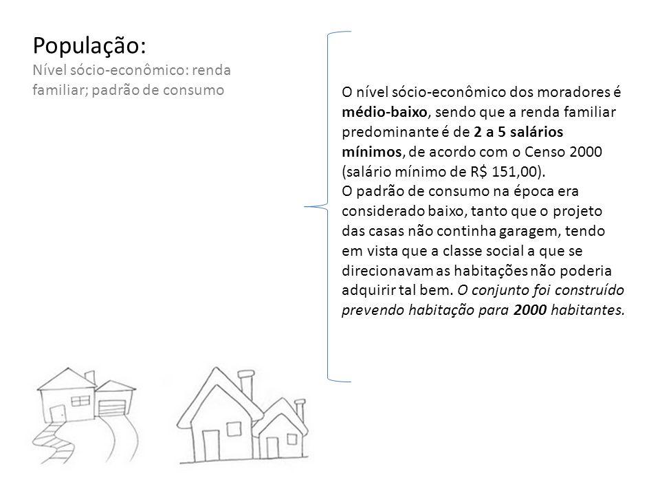 População: Nível sócio-econômico: renda familiar; padrão de consumo O nível sócio-econômico dos moradores é médio-baixo, sendo que a renda familiar pr