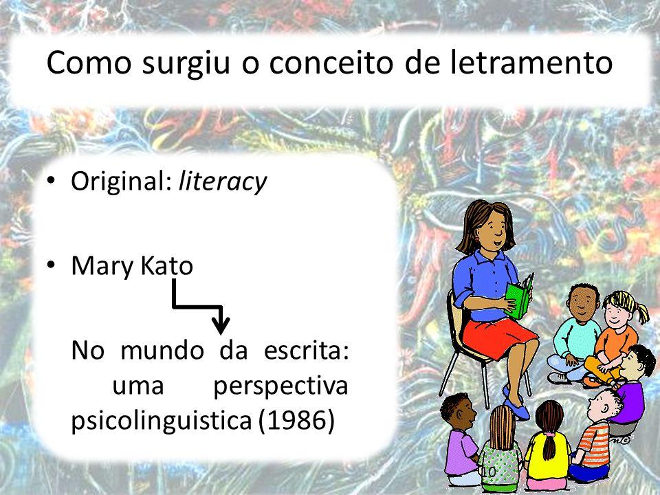 10 Como surgiu o conceito de letramento Original: literacy Mary Kato No mundo da escrita: uma perspectiva psicolinguistica (1986)