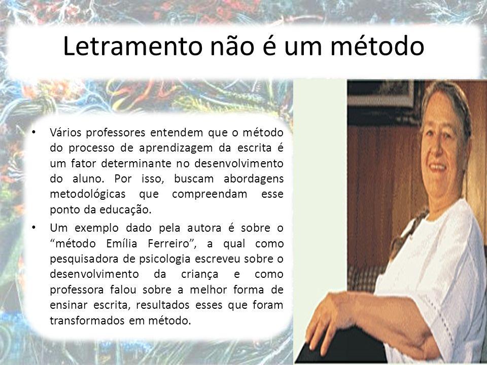 4 Letramento não é um método Vários professores entendem que o método do processo de aprendizagem da escrita é um fator determinante no desenvolvimento do aluno.
