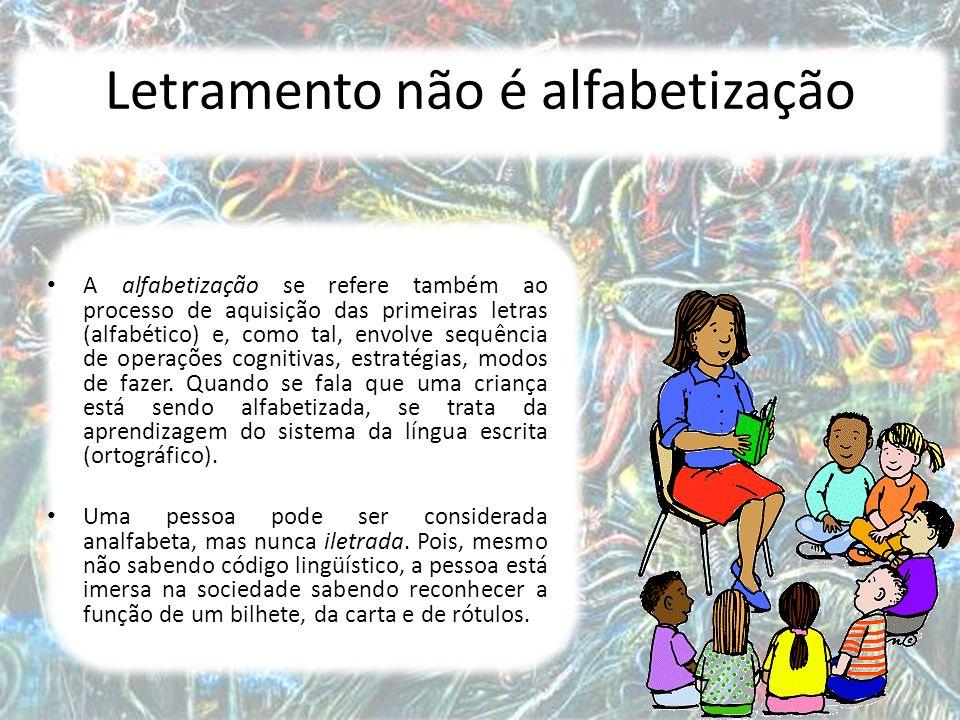 7 Letramento não é alfabetização A alfabetização se refere também ao processo de aquisição das primeiras letras (alfabético) e, como tal, envolve sequência de operações cognitivas, estratégias, modos de fazer.