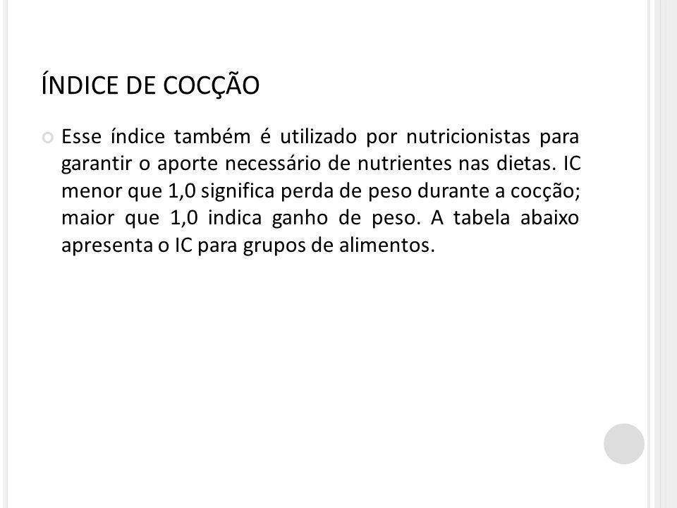 ÍNDICE DE COCÇÃO Esse índice também é utilizado por nutricionistas para garantir o aporte necessário de nutrientes nas dietas.