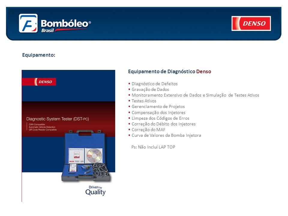 Equipamento: Equipamento de Diagnóstico Denso Diagnóstico de Defeitos Gravação de Dados Monitoramento Extensivo de Dados e Simulação de Testes Ativos