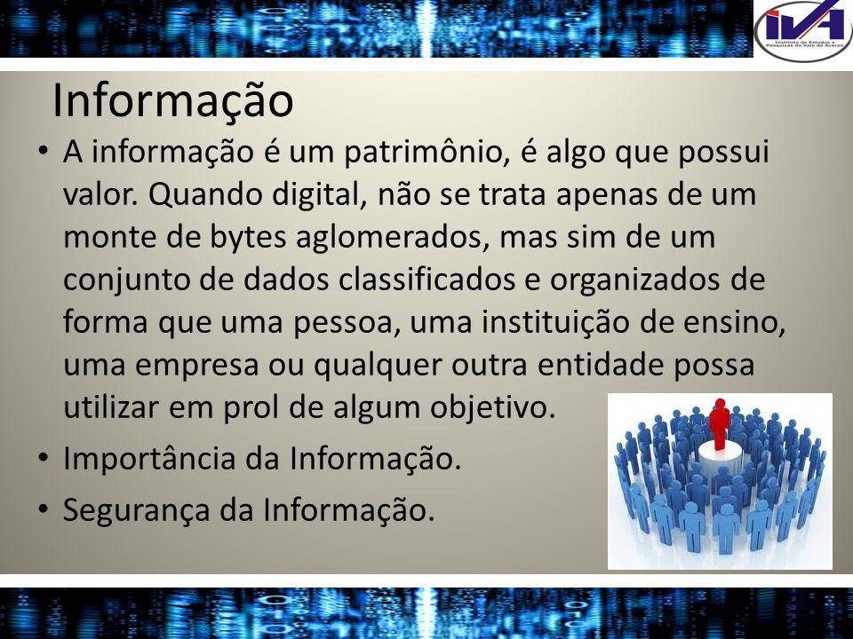 Informação A informação é um patrimônio, é algo que possui valor. Quando digital, não se trata apenas de um monte de bytes aglomerados, mas sim de um
