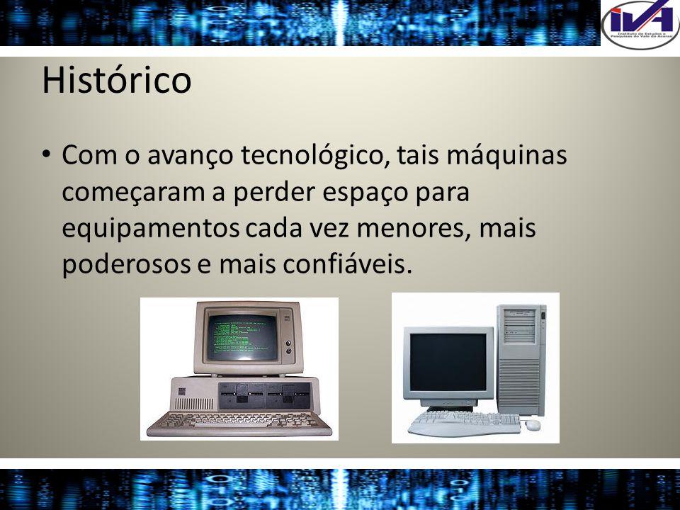 Histórico Com o avanço tecnológico, tais máquinas começaram a perder espaço para equipamentos cada vez menores, mais poderosos e mais confiáveis.