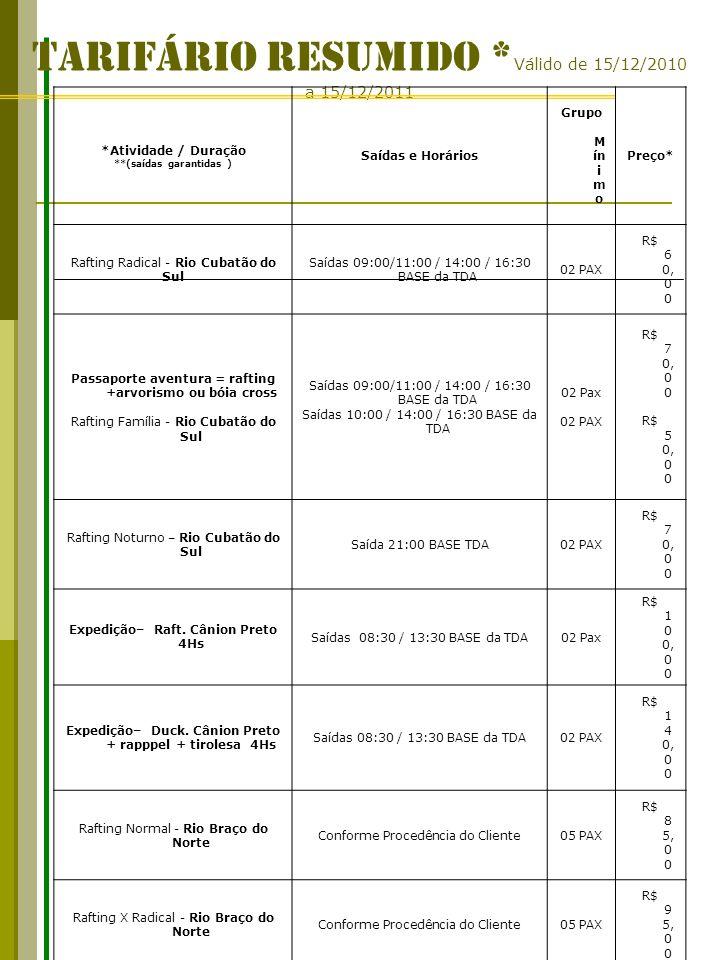 TARIFÁRIO RESUMIDO * Válido de 15/12/2010 a 15/12/2011 *Atividade / Duração **(saídas garantidas ) Saídas e Horários Grupo M ín i m o Preço* Rafting R