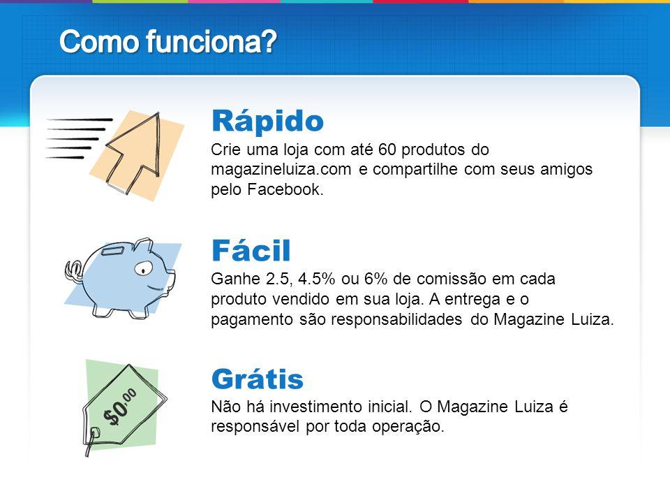 Rápido Crie uma loja com até 60 produtos do magazineluiza.com e compartilhe com seus amigos pelo Facebook. Fácil Ganhe 2.5, 4.5% ou 6% de comissão em