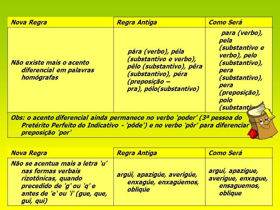 12 Nova RegraRegra AntigaComo Será Não existe mais o acento diferencial em palavras homógrafas pára (verbo), péla (substantivo e verbo), pêlo (substan