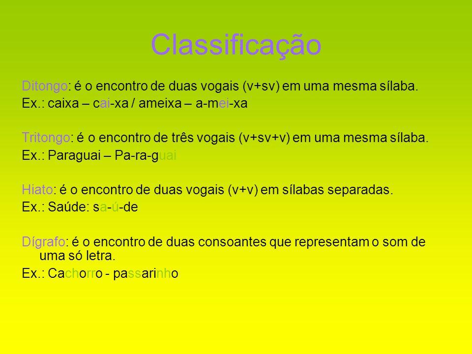 Classificação Ditongo: é o encontro de duas vogais (v+sv) em uma mesma sílaba. Ex.: caixa – cai-xa / ameixa – a-mei-xa Tritongo: é o encontro de três